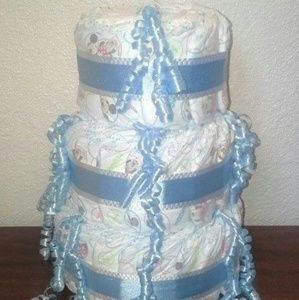 Other - Blue and White Baby Shower 3 Tier Diaper Cake Gift